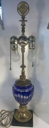 Antique Cobalt Blue Cut To Clear Bohemian Glass Lamp Marble Base Ornate Brass