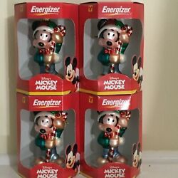 Lot Of 4 Disney's Mickey Mouse Energizer Ornament Candy Cane Hand Made Glass New