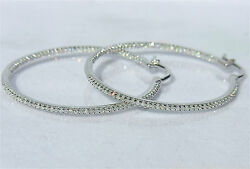 Custom Order 2.5in And Out Diamonds 14k White Yellow Or Rose Gold Hoop Earrings