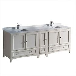 Fresca Oxford 84 Inch Antique White Traditional Double Sink Bathroom Cabinets...