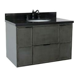 37 Single Wall Mount Vanity In Linen Gray Finish Top With Black Galaxy And O...