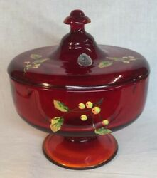 Fenton Art Glass Hand Painted Holly Berries On Ruby Red Candy Dish With Lid Qvc