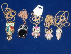 Crystal Owl Figurines On 26in Chain Gold Filled