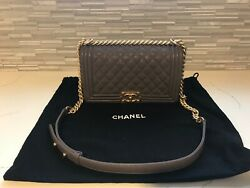 Chanel Boy Bag Medium in Khaki and Aged Gold $4,495.00