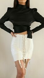 Vintage 1940s Laced Up Corset Girdle Skirt In Size 28 Dead Stock Cream Color