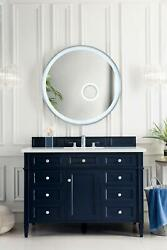 Brittany 48 Single Vanity Victory Blue With 3 Cm Carrara Marble Top