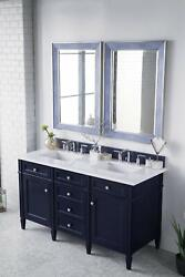 Brittany 60 Double Vanity Victory Blue With 3 Cm Classic White Quartz Top W/...