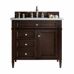 Brittany 36 Single Cabinet Burnished Mahogany With 3 Cm Grey Expo Quartz Top...