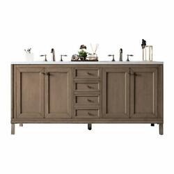Chicago 72 Double Vanity White Washed Walnut With 3 Cm Santa Cecilia Top W/o...
