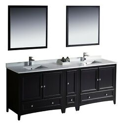 Fresca Bath Fvn20-361236es Oxford 84 Double Sink Vanity With Side Cabinet E...
