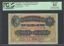 East Africa 20 Shilling- One Pound 1-8-1951 P30bs Specimen Uncirculated