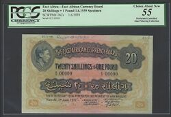 East Africa 20 Shilling- One Pound 1-6-1939 P26cs Specimen About Uncirculated
