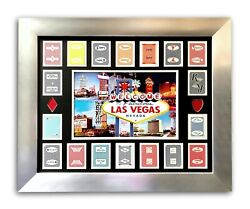Old Las Vegas Hotels Authentic 18 Playing Cards Collage Framed D/50 Vintage