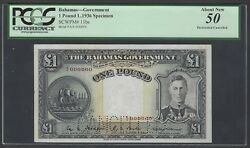 Bahamas King George One Pound L1936 P11bs Specimen Perforated Aunc