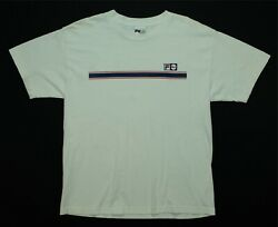 Rare Vintage Fila Spell Out Center Stripe T Shirt 90s 2000s Hip Hop White Size L