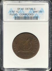 1787 Fugio Colonial Copper Cent Old White Anacs Ef-40 Newman 16-n