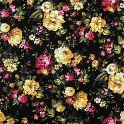 Romantic Cottage Roses on Black Fabric Shabby Chic Floral Fabric t1 39