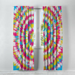 Colorful Tie Dye Design Lined Window Curtains