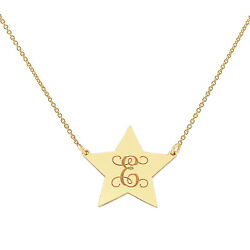 10k Solid Gold Monogram Initial Tiny Star Disc Charm Pendant Necklace Gc25c