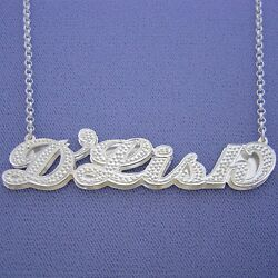 Large Size Silver Name Necklace Personalized 3d Double Plate Dia-accent Pendant