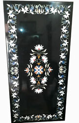 52 X 32 Center Dining Patio Marble Table Top Precious Stones Inlaid Art Work