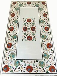54 X 32 Marble Coffee Table Top Floral Semi Precious Stones Inlay Work