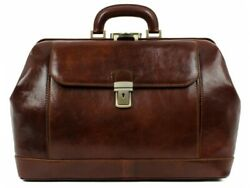 Leather Doctor Bag Mens Vintage Satchel Medical Purse Made In Italy New