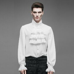 Men's Shirt Tops Steampunk Gothic Blouses Western Style Balloon Sleeve Vintage