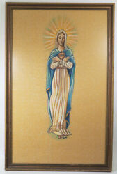 Vintage Immaculate Heart Of Mary Large Framed Artwork Print Signed By Dino