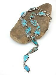 Lariat Navajo Native American Sterling Silver Turquoise Necklace Pendant 4798
