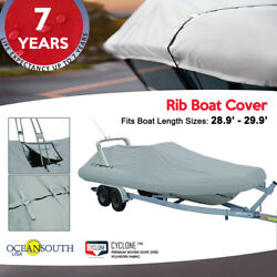 Oceansouth Outboard Rigid Hull Inflatable Boat Cover L 28.9and039 - 29.9and039 W 7and039