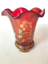 Frank M. Fenton 1905 Hand-painted 100th Anniversary Founder's Ruby Flip Vase Red