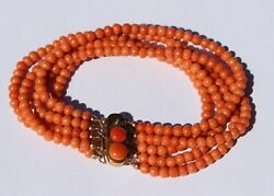1800and039s Antique Victorian Solid 10k Rose Gold Natural Salmon Coral Beads Bracelet