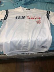 Men's White NY Yankee red white amp; blue letters size XXL used once