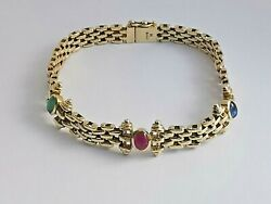 14ct Yellow Gold Fancy Gate Bracelet Man Made Green Red Blue Stones 7.25 23.3g