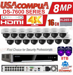 Hikvision Security System Kit 4k-uhd Nvr 16ch Poe 2mp Cameras /hdd Optional
