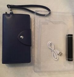 Lodis Leather Smartphone Wristlet /wallet With Universal Charging Stick Navy New