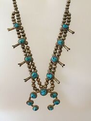 Very Rare - Sarah Chee -navajo Signed Sterling Squash Blossom Necklace Turquoise