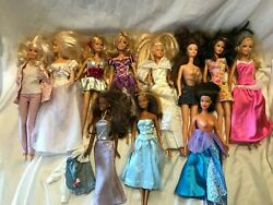 Large Lot Of 11 Barbie Dolls With Clothing Outfits African American And Light Up
