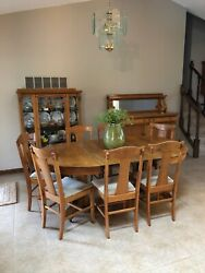 Andnbsp Antique Tiger Oak Table 2 Leaves 8 Chairs Buffet China Hutch.andnbsp