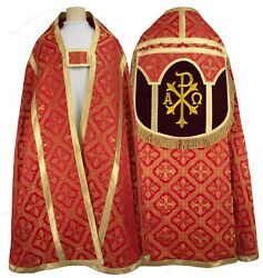 Red Roman Cope With Stole Chi Rho Capa Pluvial Roja Piviale Rosso Kr1ac50