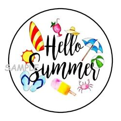 30 HELLO SUMMER ENVELOPE SEALS LABELS STICKERS 1.5quot; ROUND BEACH FAVORS GIFTS $1.95