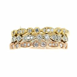 14kt Tri Color Diamond Stackable Ring Set With Miligrain Design All Sizes 1ctw