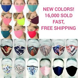 Face Mask Double Layer Fabric Protection Washable Unisex Printed Masks SHIPS NOW $12.95