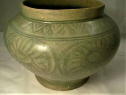 Antique Sawankhalok Thai Fine Incised Vase 14 -15th C. 10 In Dia. From Shipwreck