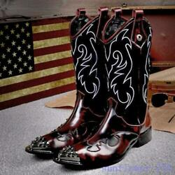 Mens Rivet Decor Pointy Toe Embroider Leather Rock Punk Knee High Boots Gothic