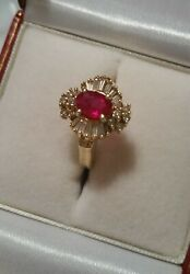 2 Ct Tw 1ct Genuine Clear Ruby And 1ct Clean Diamonds Ring Size 7 14k