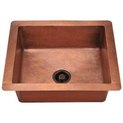 Mr Direct Single Bowl Kitchen Sink Undermount Hammered Square Insulated Copper