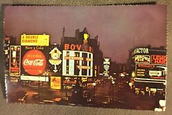 Vtg. Coca Cola Schweppes Sign Postcard Piccadilly Circus Westminster England B7