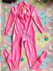 534 Pink Women Latex Catsuit With Socks 3d Breast Back Zip To Crotch